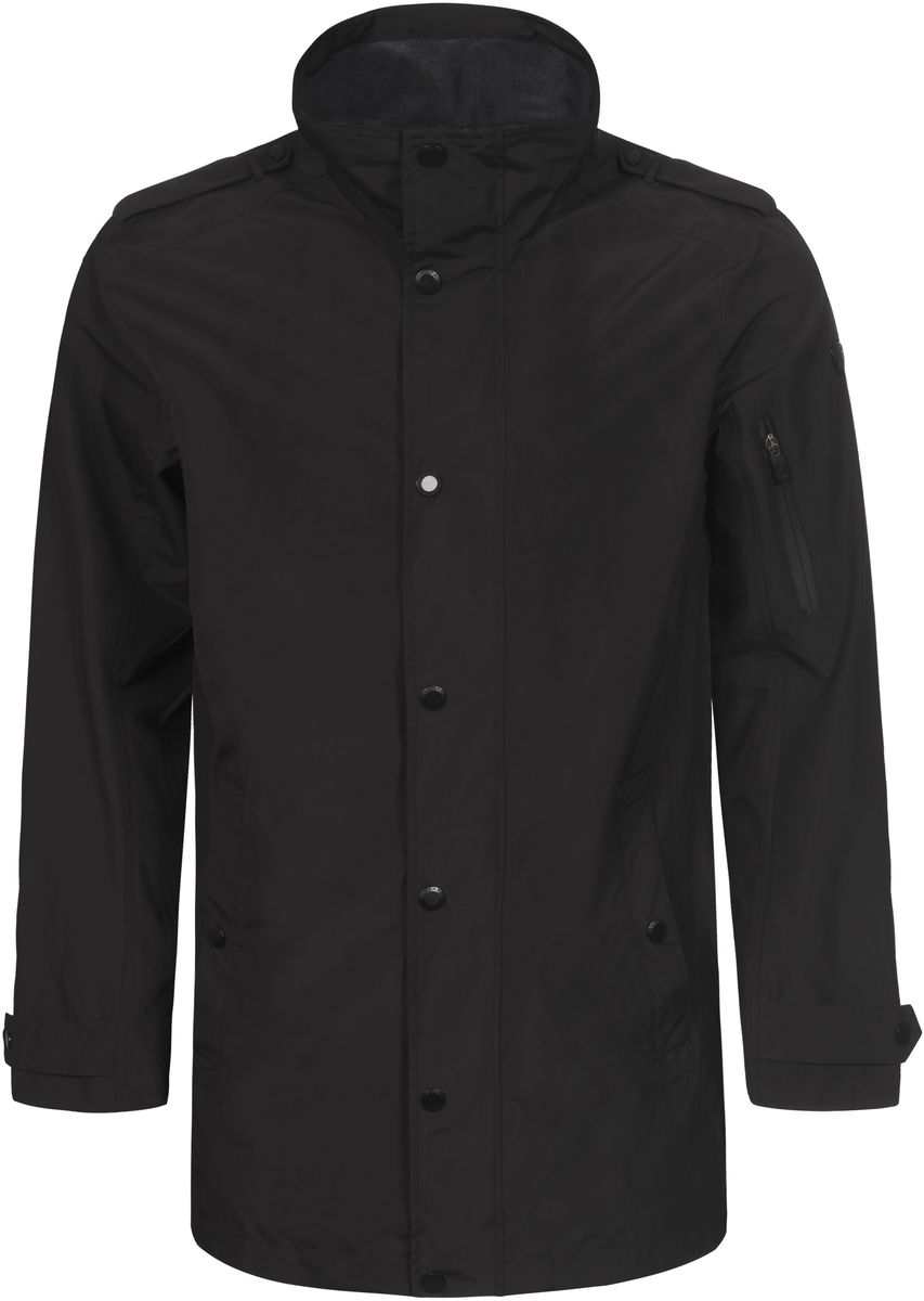 Куртка мужская Luhta, цвет: черный. 737561383LVT. Размер 50737561383LVTМужская куртка Luhta выполнена из высококачественного материала. Модель с воротником-стойкой и длинными рукавами застегивается на молнию и дополнительно ветрозащитным клапаном на кнопки. Куртка оформлена двумя карманами на кнопках и одним карманом на молнии.