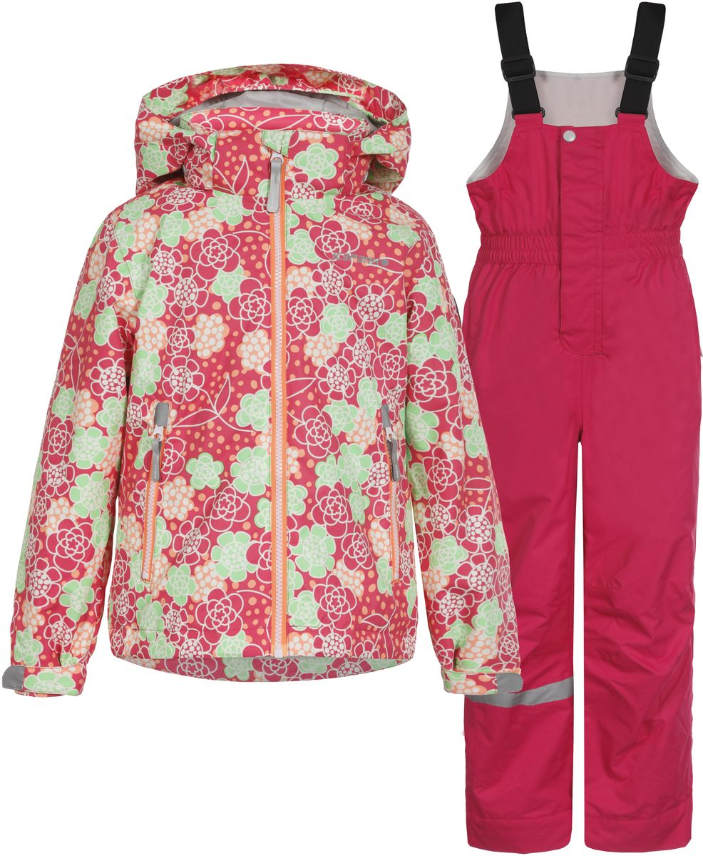 Комплект для девочки Icepeak: куртка, полукомбинезон, цвет: розовый, зеленый. 752000660IV_665. Размер 92752000660IV_665Комплект верхней детской одежды Icepeak состоит из куртки и полукомбинезона. Куртка с капюшоном застегивается на пластиковую молнию. На рукавах предусмотрены манжеты. Спереди расположены два врезных кармана на молниях. Оформлено изделие оригинальным принтом. Брюки спереди застегиваются на пластиковую молнию и кнопку. Модель дополнена эластичными наплечными лямками, регулируемыми по длине. На талии предусмотрена широкая резинка. На комплекте предусмотрены светоотражающие элементы.
