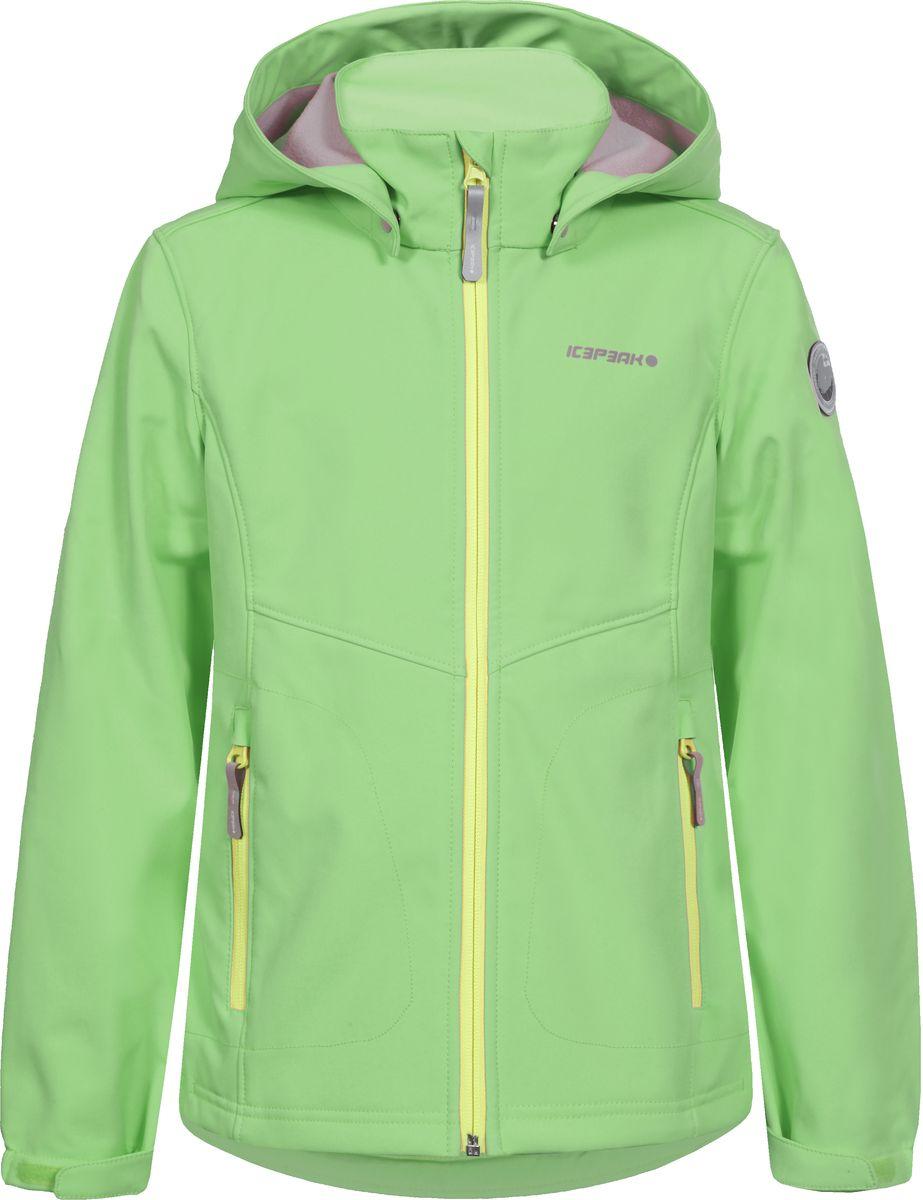 Куртка для девочки Icepeak, цвет: светло-зеленый. 751808682IVT_882. Размер 164751808682IVT_882Куртка для девочки Icepeak выполнена из качественного полиэстера. Модель со съемным капюшоном и длинными рукавами застегивается на молнию. Изделие дополнено двумя врезными карманами на молниях.