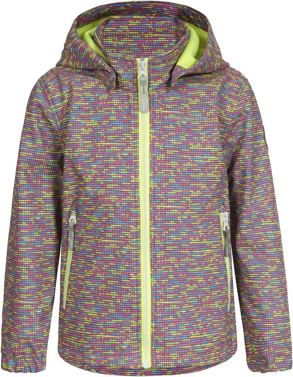 Куртка для девочки Icepeak, цвет: розовый, синий, желтый. 751815IVT_881. Размер 104751815IVT_881Куртка для девочки Icepeak выполнена из качественного материала. Модель со съемным капюшоном и длинными рукавами застегивается на молнию. Изделие дополнено двумя врезными карманами на молниях.