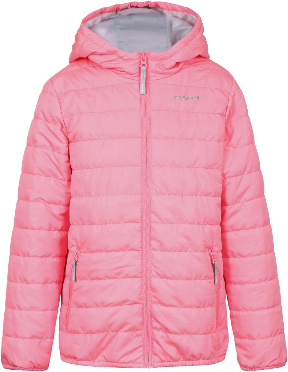 Куртка для девочки Icepeak, цвет: розовый. 750018504IV_887. Размер 140750018504IV_887Куртка для девочки Icepeak выполнена из качественного полиэстера. Модель с капюшоном и длинными рукавами застегивается на застежку-молнию. Изделие дополнено двумя врезными карманами на молниях.