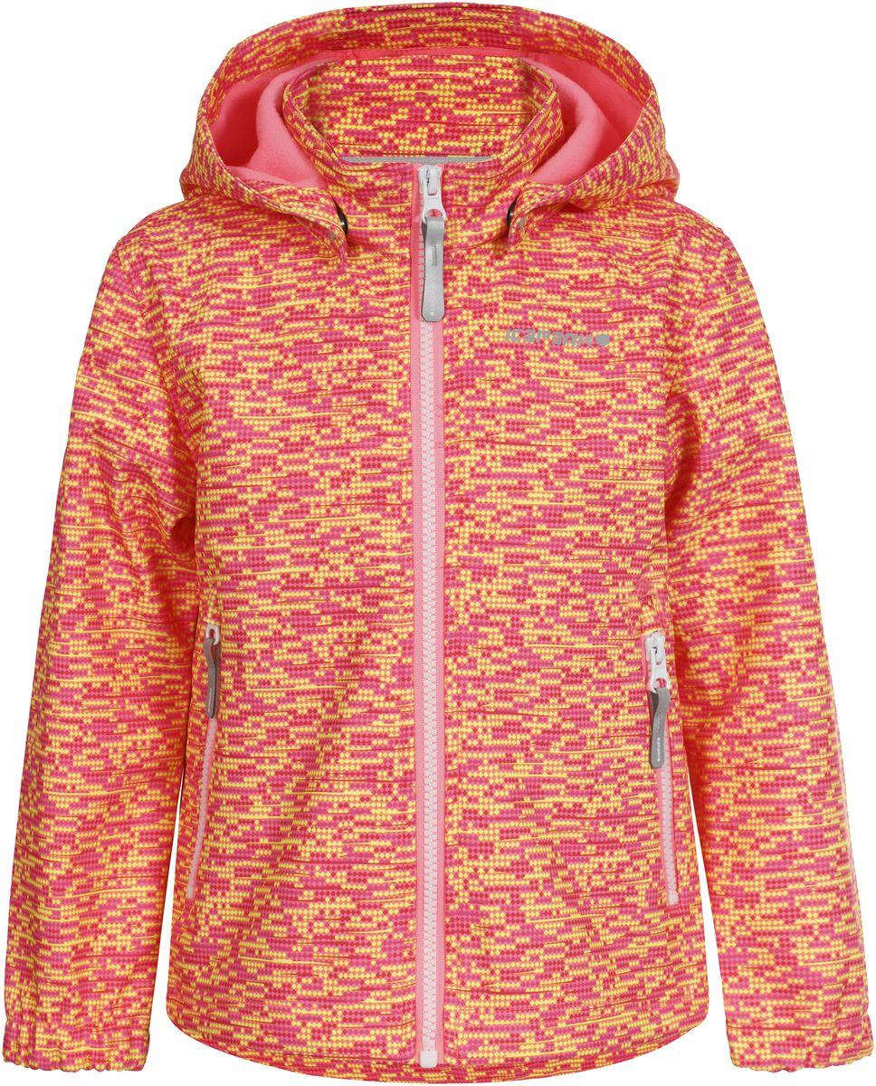 Куртка для девочки Icepeak, цвет: розовый, желтый. 751815IVT_887. Размер 92751815IVT_887Куртка для девочки Icepeak выполнена из качественного материала. Модель со съемным капюшоном и длинными рукавами застегивается на молнию. Изделие дополнено двумя врезными карманами на молниях.
