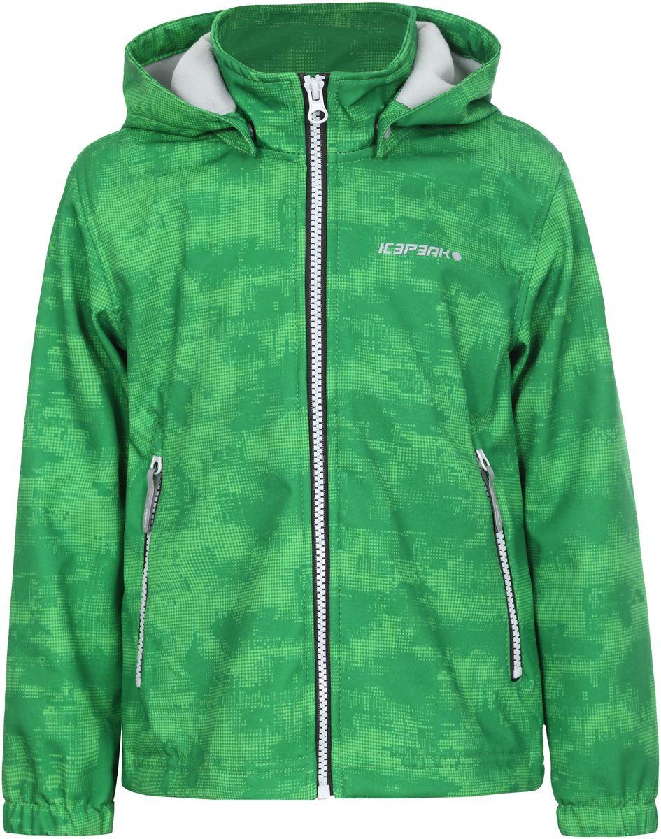 Куртка для мальчика Icepeak, цвет: зеленый. 751816656IVT_545. Размер 110751816656IVT_545Куртка для мальчика Icepeak выполнена из качественного полиэстера. Модель со съемным капюшоном и длинными рукавами застегивается на молнию. Изделие дополнено двумя врезными карманами на молниях.