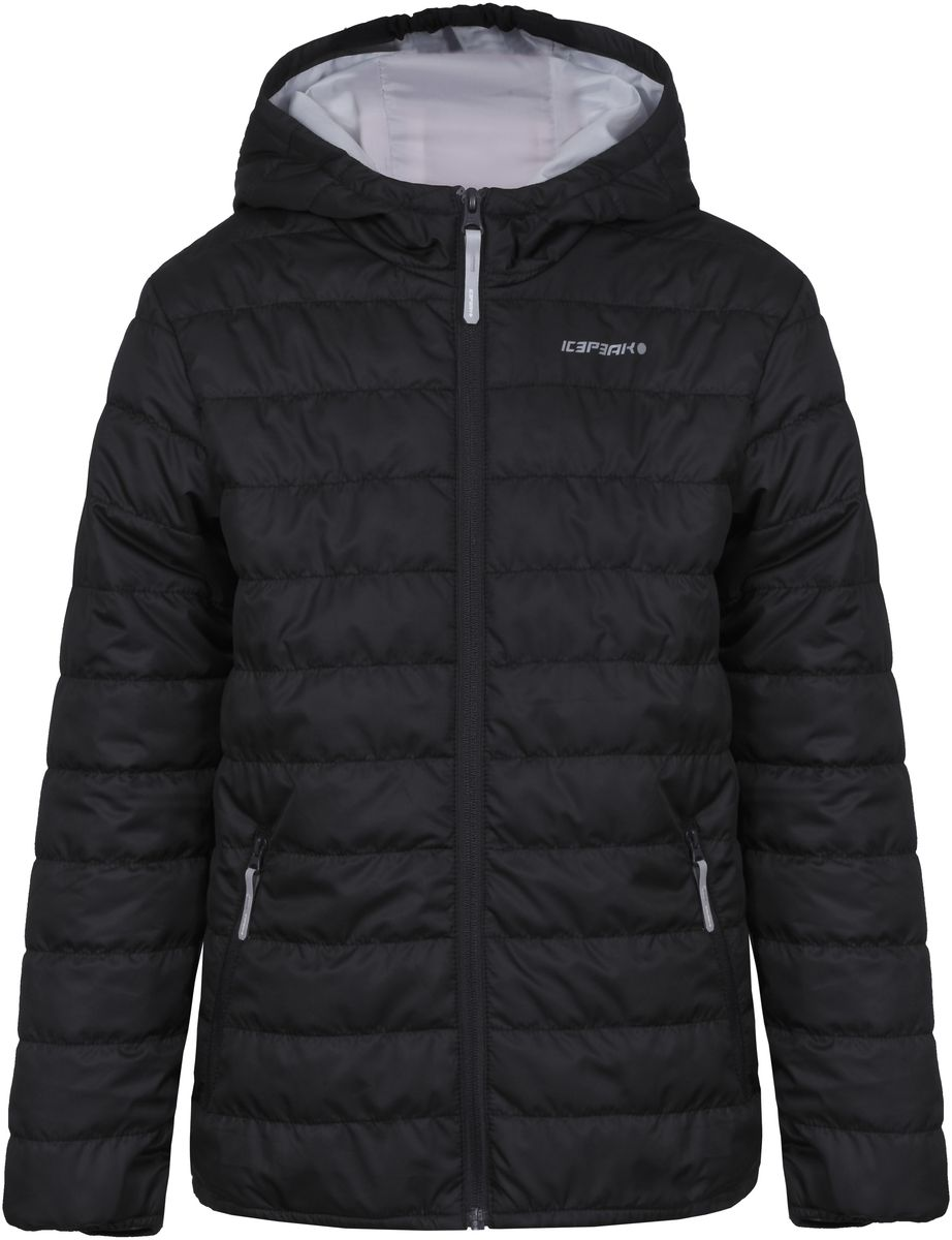 Куртка для мальчика Icepeak, цвет: черный. 750018504IV_990. Размер 152750018504IV_990Куртка для мальчика Icepeak выполнена из качественного материала. Модель с капюшоном и длинными рукавами застегивается на застежку-молнию. Изделие дополнено двумя врезными карманами на молниях.