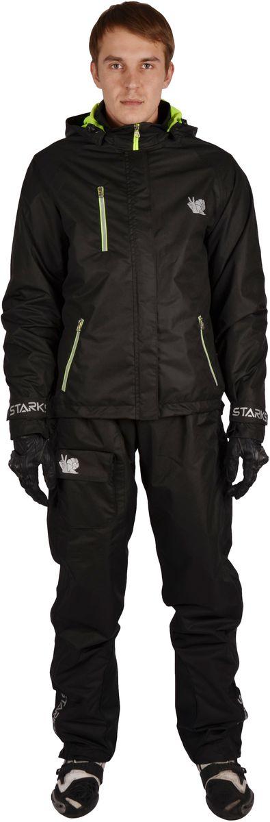 Куртка дождевая Starks Dry Rain, мужская, цвет: черный. ЛЦ0049. Размер LЛЦ0049_L_мужМембранный дождевик Starks Dry Rain разработан для экстремальных условий эксплуатации и высокой влажности. Топовая мембрана 10 000 c отделкой Teflon от DuPont, рассчитана на высокую влажность. Сетчатая подкладка. Активное выведение пара изнутри, 100% защита от протекания снаружи. Все швы изготовлены в замок и герметизированы лентой.Светоотражающие элементы со всех сторон добавят пассивной безопасности в пасмурную погоду. Все молнии водонепроницаемые. Основные молнии закрыты двойным ветрозащитным клапаном. Съемный капюшон. Рукава оборудованы утяжками.Особенности: -Высококачественная мембрана с отделкой Teflon.-Светоотражающие элементы. -Сетчатая подкладка. -Съемный капюшон. -Утяжки и кнопки. -Герметизированные швы. Состав: 100% микрополиэфир, PU-мембрана. Отделка: Teflon.