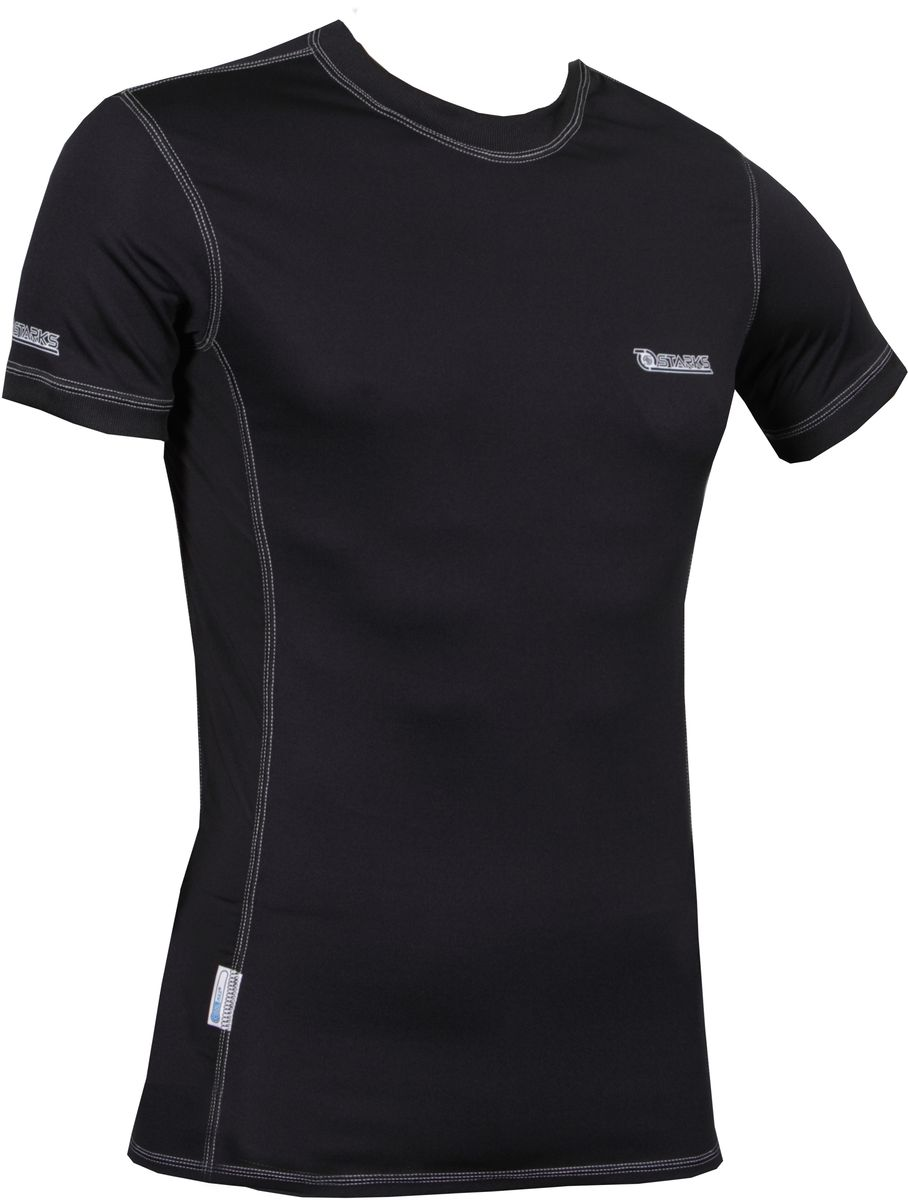 Термофутболка Starks T-Shirt Coolmax, женская, с коротким рукавом, цвет: черный. Размер LЛЦ0037_L_женКомбинированная, Охлаждающая футболка из запатентованного материалаCOOLMAX c анатомическим кроем. Высокая степень охлаждения тела, выведения влаги.Технология «плоских» швов, предохраняет кожу от натирания и гарантирует комфорт. Вставки из ткани Coolmax Extreme в потонагруженных местах (подмышки) обеспечат максимальную терморегуляцию и охлаждение