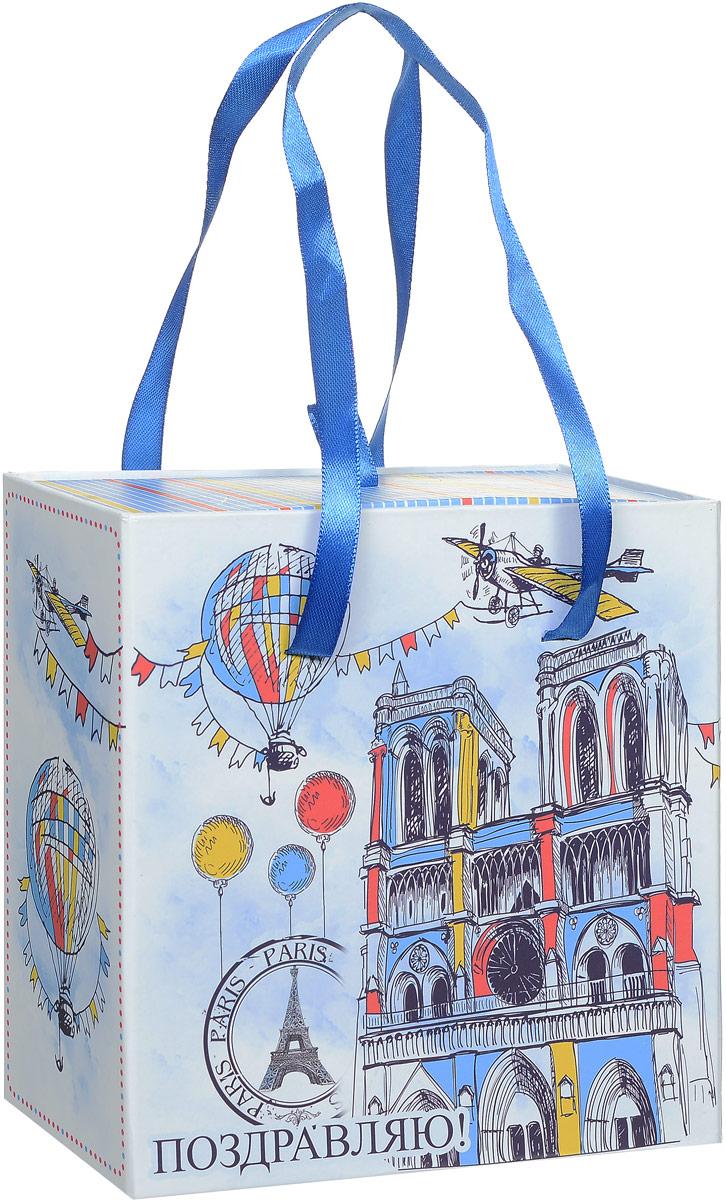 Коробка подарочная Magic Home Нотр-Дам, квадратная, 16 х 16 х 8 см44282Подарочная коробка Magic Home Нотр-Дам выполнена из мелованного ламинированного картона. Коробочка оформлена оригинальным ярким рисунком. Изделие имеет квадратную форму и состоит из двух частей, одна из которых вставляется в другую. Внутренняя часть дополнена текстильной петлей, внешняя - длинными ручками. С двух сторон на коробке имеется надпись Поздравляю!.Подарочная коробка - это наилучшее решение, если вы хотите порадовать близких людей и создать праздничное настроение, ведь подарок, преподнесенный в оригинальной упаковке, всегда будет самым эффектным и запоминающимся. Окружите близких людей вниманием и заботой, вручив презент в нарядном, праздничном оформлении.Плотность картона: 1100 г/м2.