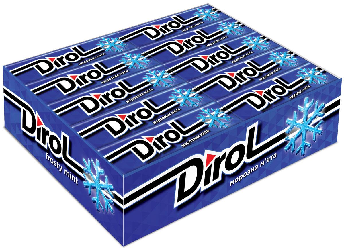 Dirol Жевательная резинка Морозная мята без сахара, 30 пачек по 13,6 г dirol жевательная резинка арбузно дынный коктейль без сахара 30 пачек по 13 6 г