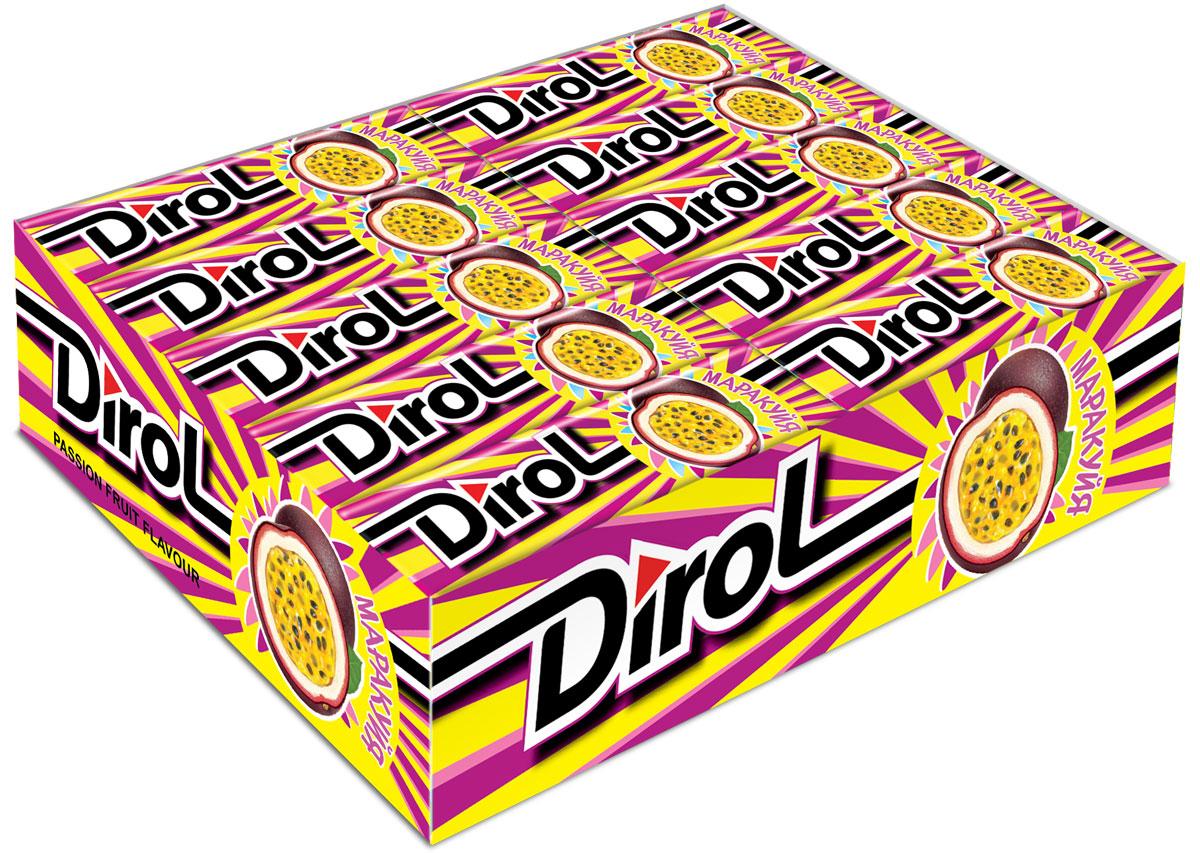 Dirol Маракуйя жевательная резинка без сахара, 30 пачек по 13,6 г dirol жевательная резинка арбузно дынный коктейль без сахара 30 пачек по 13 6 г