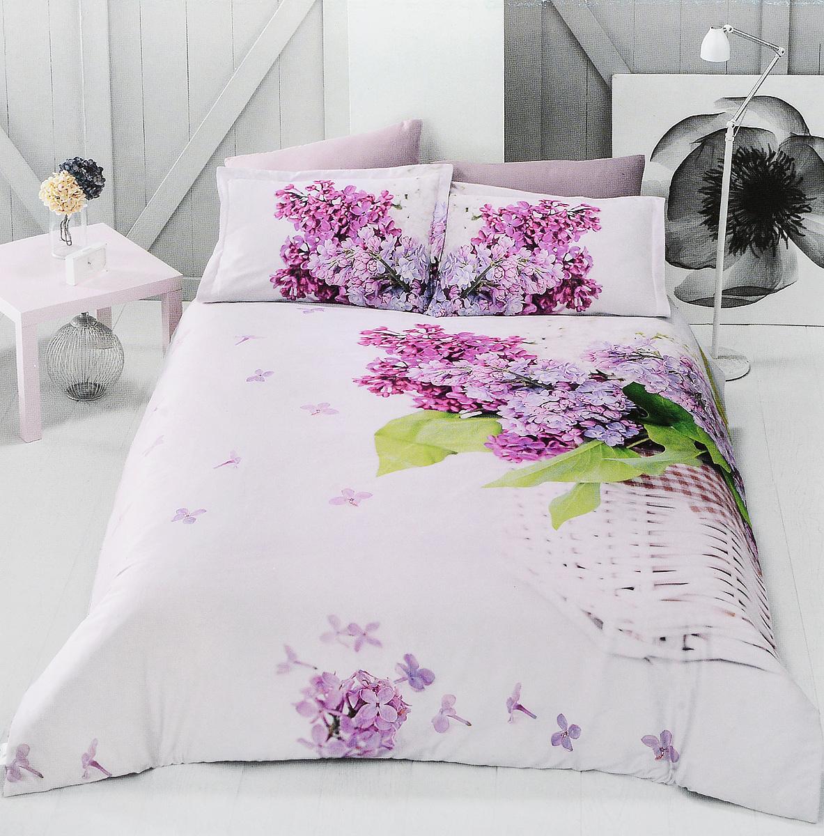 Комплект белья Clasy Lilac, евро, наволочки 50х70, цвет: розовый, фуксия