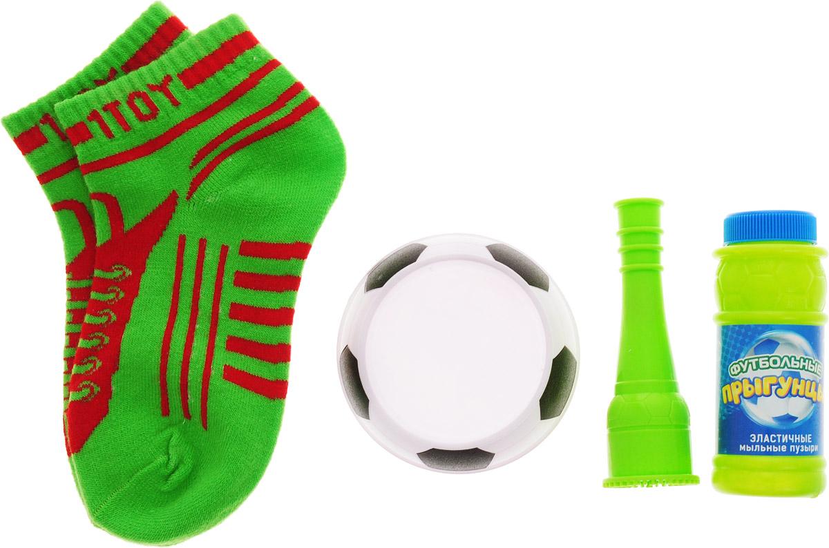 1TOY Мыльные пузыри Футбольные прыгунцы цвет носков зеленый 80 мл
