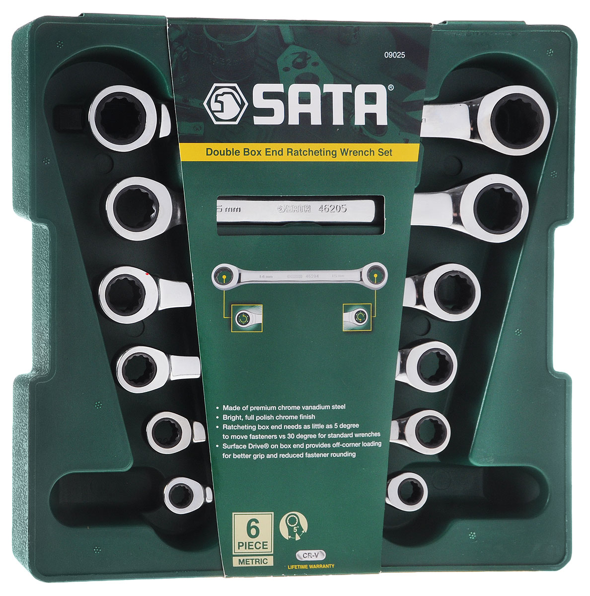 Набор ключей накидных SATA, 6 предметов09025_на подставкеНабор накидных ключей SATA станет отличным помощником монтажнику или владельцу авто. Этот набор обеспечит надежную фиксацию на гранях крепежа. Ключи изготовлены из хромованадиевой стали. Профиль кольцевого зева имеет 12 граней, что увеличивает площадь соприкосновения рабочих поверхностей и снижает риск деформации граней крепежа при монтаже. В накидных ключах SATA используется патент формы Surface Drive® увеличивающий прочность накидного наконечника и препятствующий «скруглению» ребер крепежного элемента на 25%, продлевая срок службы откручиваемых поверхностей.В набор входят: - поддон для хранения ключей;- ключи: 8 х 9, 10 х 11, 12 х 13, 14 х 15, 16 х 18, 17 х 19 мм.