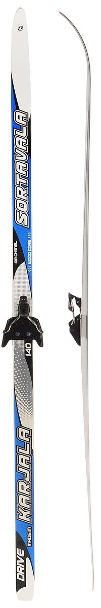 Лыжи беговые Karjala Sortavala Wax, с креплением 75 мм, цвет: синий, белый, рост 140 см лыжи беговые tisa top universal с креплением цвет желтый белый черный рост 182 см