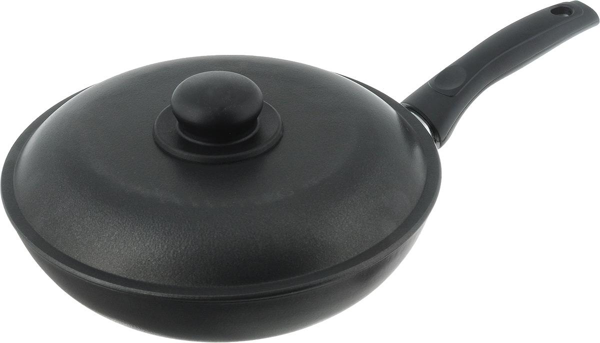 Сковорода Алита Сударыня с крышкой, с антипригарным покрытием. Диаметр 24 см11200Сковорода Алита Сударыня изготовлена из литого алюминия с двухсторонним антипригарным покрытием. Благодаря такому покрытию, пища не пригорает и не прилипает к стенкам, готовить можно с минимальным количеством масла и жиров. Гладкая поверхность обеспечивает легкость ухода за посудой.Сковорода оснащена удобной ручкой и крышкой с пластиковой ручкой.Подходит для использования на всех типах плит, кроме индукционных.Внутренний диаметр сковороды: 24 см.Высота стенки: 5,5 см.Длина ручки: 15,5 см.