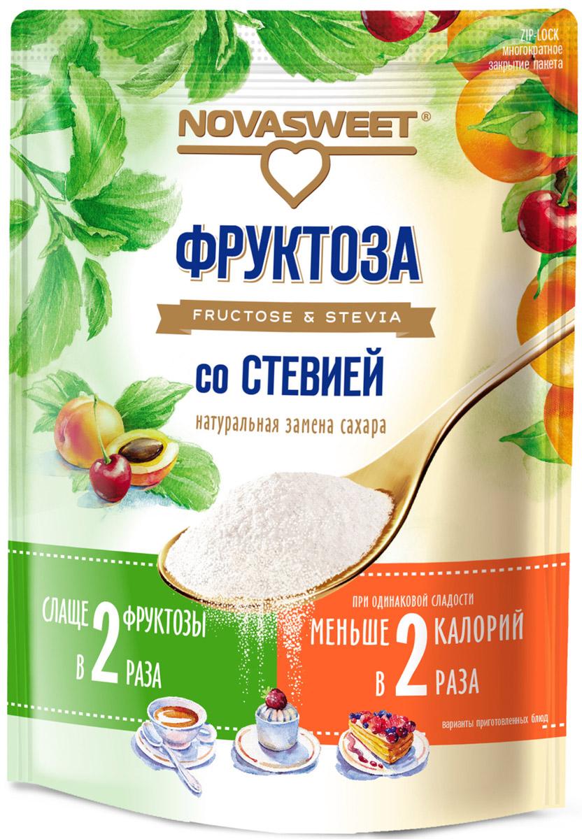 Novasweet фруктоза со стевией, 250 г4607013792760Подходит для ежедневного применения в рационах питания, направленных на снижение потребления сахара.- 100% натуральный продукт- не содержит ГМО- слаще обычной фруктозы- не вызывает резкого повышения уровня глюкозы в крови человека, так как гликемический индекс фруктозы всего 19 единиц, гликемический индекс стевии равен 0- снижает калорийность блюд при одинаковой сладости - рекомендована для диетического и диабетического питания