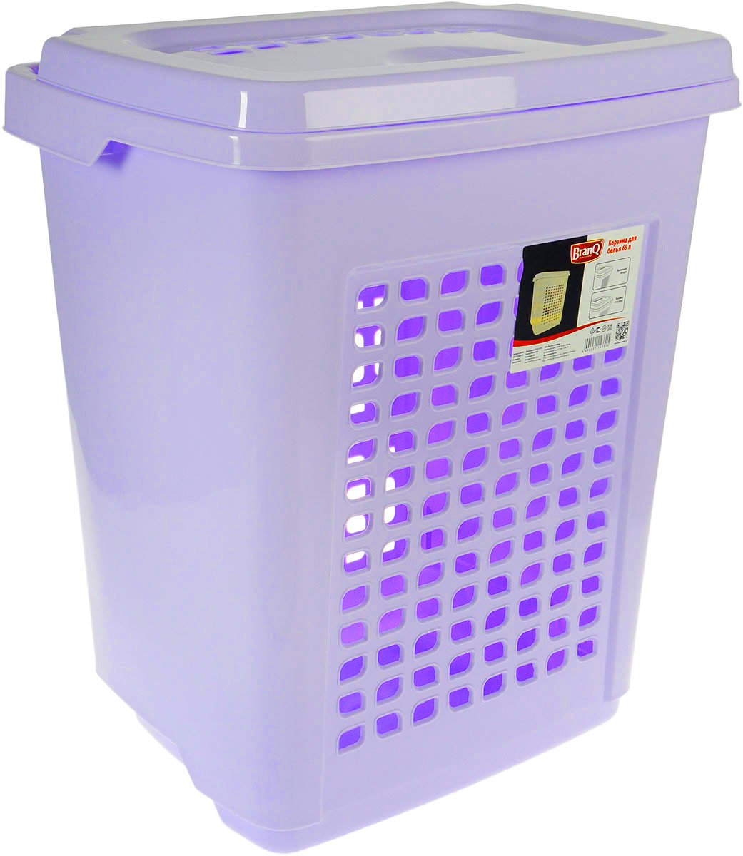 Корзина для белья BranQ, с крышкой, цвет: светло-сиреневый, 65 лBQ1694ЛВДКорзина для белья BranQ изготовлена из прочного пластика. Корзина пропускает воздух, устойчива к перепадам температур и влажности, поэтому идеально подходит для ванной комнаты. Изделие оснащено выемками под руки и крышкой. Можно использовать для хранения белья, детских игрушек, домашней обуви и прочих бытовых вещей. Элегантный дизайн подойдет к интерьеру любой ванной.