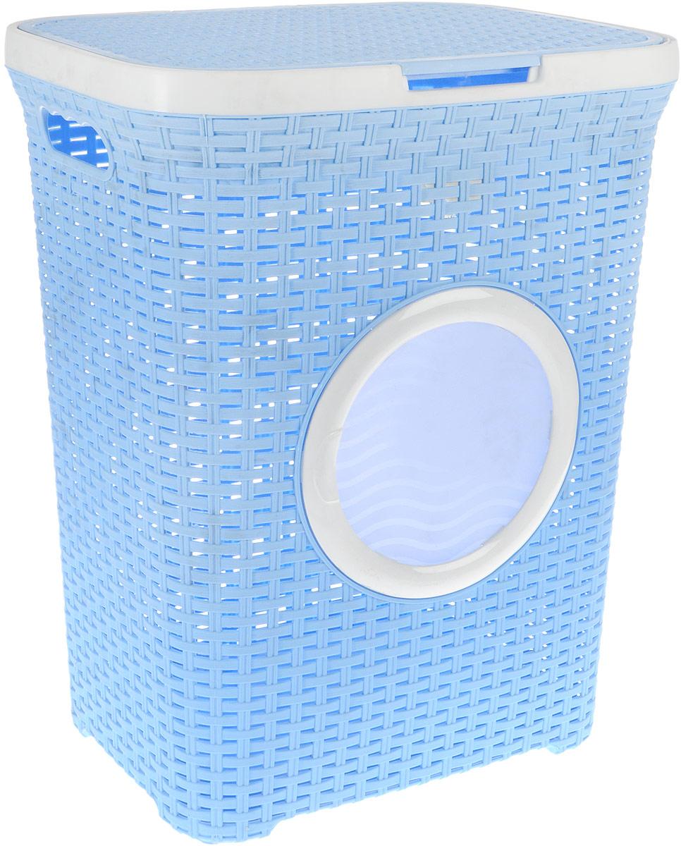 Корзина для белья Violet, с крышкой, цвет: голубой, белый, 60 л1861/3_голубойВместительная корзина для белья Violet изготовлена из прочного цветного пластика и декорирована отверстием в виде иллюминатора. Она отлично подойдет для хранения белья перед стиркой.Специальные отверстия на стенках создают идеальные условия для проветривания. Изделие оснащено крышкой и двумя эргономичными ручками для переноски. Такая корзина для белья прекрасно впишется в интерьер ванной комнаты. Высота корзины: 55 см. Ширина: 35,5 см. Длина: 44 см.