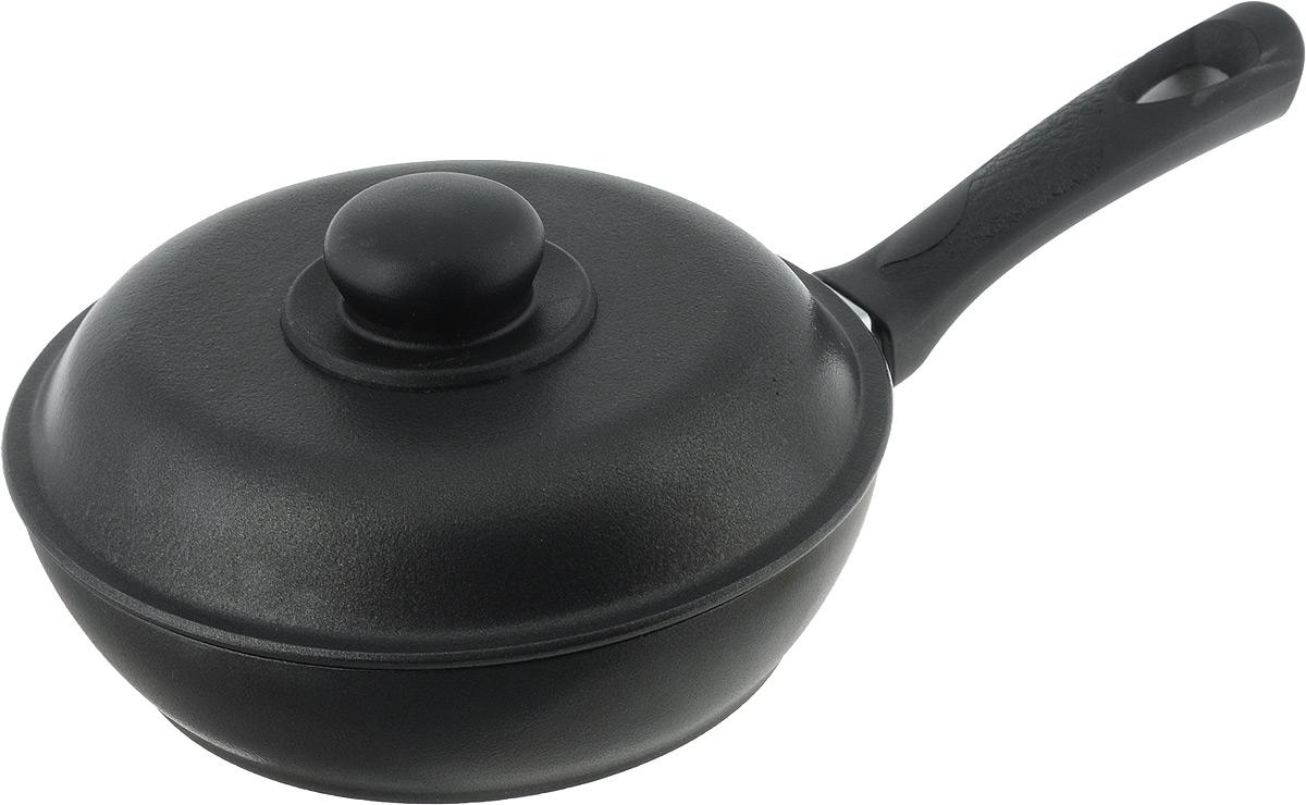 Сковорода Алита Алена с крышкой, с антипригарным покрытием. Диаметр 20 см10211Сковорода Алита Алена изготовлена из литого алюминия с двухсторонним антипригарным покрытием. Благодаря такому покрытию, пища не пригорает и не прилипает к стенкам, готовить можно с минимальным количеством масла и жиров. Гладкая поверхность обеспечивает легкость ухода за посудой.Сковорода оснащена удобной ручкой и крышкой с пластиковой ручкой. Подходит для использования на всех типах плит, кроме индукционных.Внутренний диаметр сковороды: 20 см.Высота стенки: 5,5 см.Длина ручки: 17,5 см.