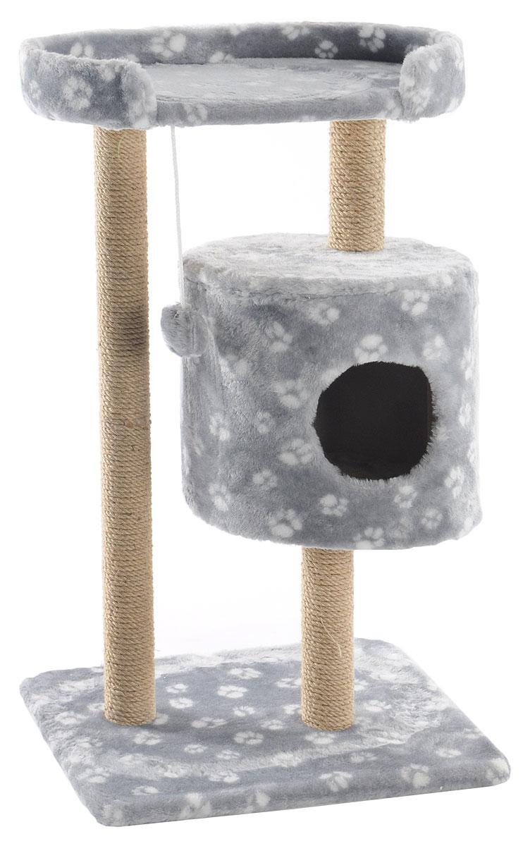 Домик-когтеточка Меридиан, круглый, с площадкой, цвет: серый, белый, бежевый, 52 х 52 х 105 смД517ЛаДомик-когтеточка Меридиан выполнен из высококачественного ДВП и ДСП и обтянут искусственным мехом. Изделие предназначено для кошек. Ваш домашний питомец будет с удовольствием точить когти о специальные столбики, изготовленные из джута. А отдохнуть он сможет либо на полке, либо в домике. Изделие снабжено подвесной игрушкой. Домик-когтеточка Меридиан принесет пользу не только вашему питомцу, но и вам, так как он сохранит мебель от когтей и шерсти.Общий размер: 52 х 52 х 105 см.Размер домика: 35 х 35 х 32 см.Размер полки: 51 х 29 см.
