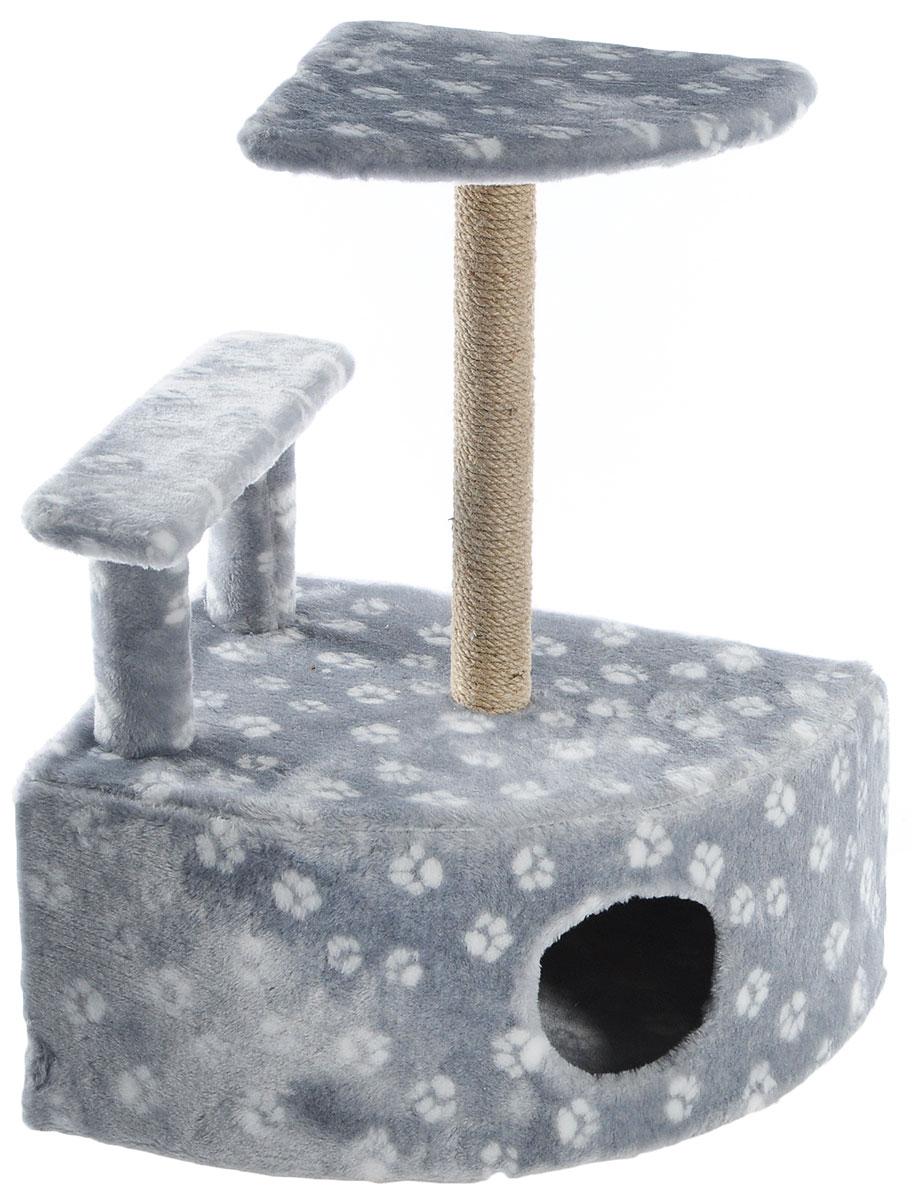 Игровой комплекс для кошек  Меридиан , угловой, с домиком и когтеточкой, цвет: светло-серый, белый, бежевый, 58 х 48 х 79 см