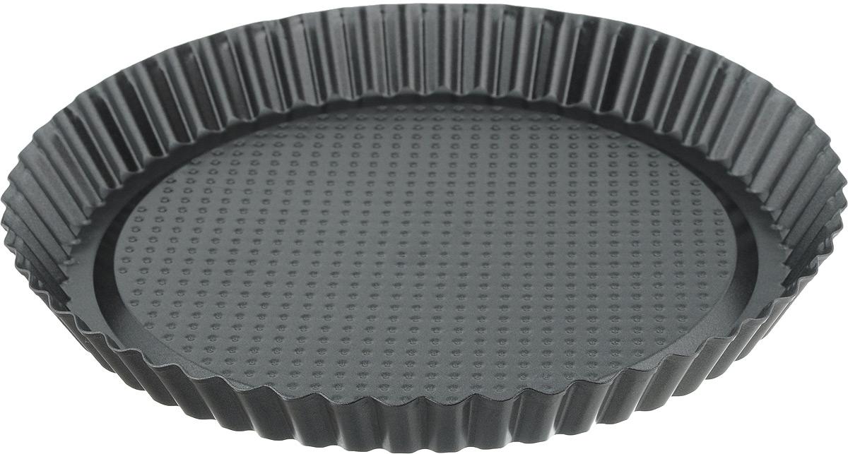 Форма для выпечки MOULINvilla, с антипригарным покрытием, диаметр 27,5 смBWJ-027Форма для выпечки с волнистыми краями MOULINvilla выполнена из утолщенной углеродистой стали, обладающей большой износостойкостью и надежностью. Технология антипригарного покрытия GOLDFLON способствует оптимальному распределению тепла. Форму легко чистить и мыть. Можно мыть в посудомоечной машине.Диаметр: 27,5 см. Высота стенок: 3 см.
