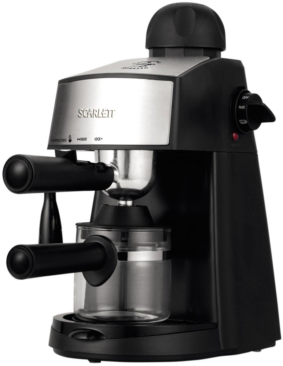 Scarlett SC-CM33004, Black кофеваркаSC-CM33004Scarlett SC-CM33004 - современная кофеварка рожкового типа, способная приготовить эспрессо или капучино из молотого кофе. Она стильно выглядит, проста в использовании, не занимает много места, оснащена резиновыми ножками, повышающими её устойчивость.Максимальное давление составляет 4 бар. Этого достаточно, чтобы кофе, приготовленный при помощи кофеварки, приобрёл богатый, насыщенный вкус и аромат.Кофеварка оснащена стеклянной колбой, в которой можно приготовить до 4 чашек кофе. Резервуар для капель значительно упрощает уход за кофеваркой. При необходимости он легко снимается и моется.К кофеварке прилагается удобная мерная ложечка, с помощью которой владелец сможет точно отмерить необходимое количество молотого кофе.Колба из термостойкого стеклаСопло для подачи пара под давлениемСъемный фильтродержательСъемный поддон для сбора капельРезиновые ножки для повышения устойчивостиКак выбрать кофеварку. Статья OZON Гид