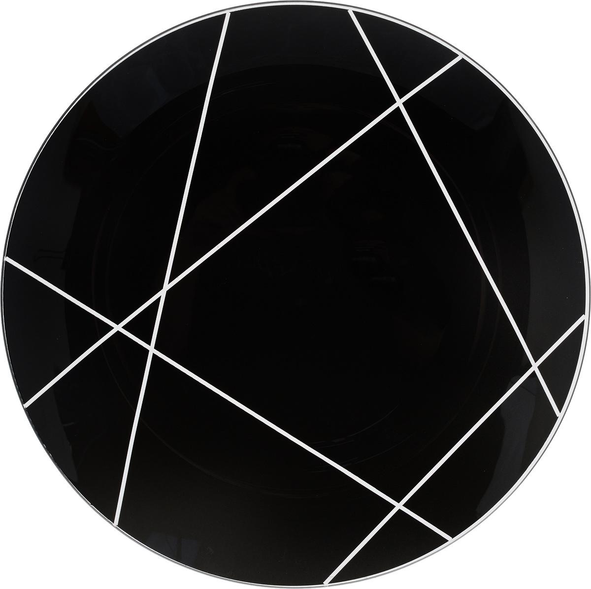 Тарелка NiNaGlass Контур, цвет: черный, диаметр 30 см85-300-002/чернТарелка NiNaGlass Контур выполнена из высококачественного стекла и оформлена красивым прозрачным геометрическим принтом. Тарелка идеальна для подачи вторых блюд, а также сервировки закусок, нарезок, салатов, овощей и фруктов. Она отлично подойдет как для повседневных, так и для торжественных случаев.Такая тарелка прекрасно впишется в интерьер вашей кухни и станет достойным дополнением к кухонному инвентарю.