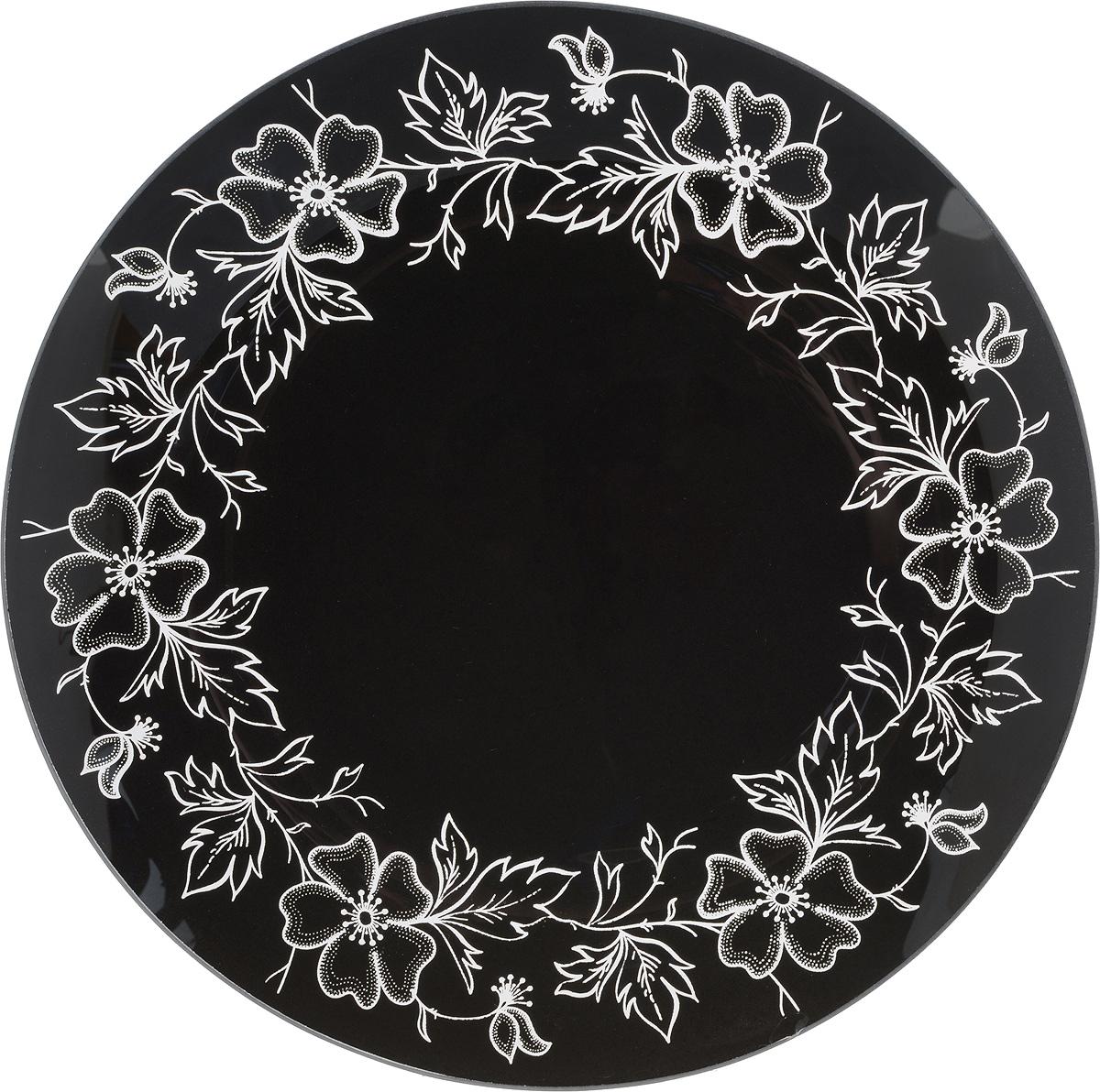 Тарелка NiNaGlass Лара, цвет: черный, диаметр 26 см85-260-075/чернТарелка NiNaGlass Лара выполнена из высококачественного стекла и оформлена красивым цветочным узором. Тарелка идеальна для подачи вторых блюд, а также сервировки закусок, нарезок, салатов, овощей и фруктов. Она отлично подойдет как для повседневных, так и для торжественных случаев.Такая тарелка прекрасно впишется в интерьер вашей кухни и станет достойным дополнением к кухонному инвентарю.