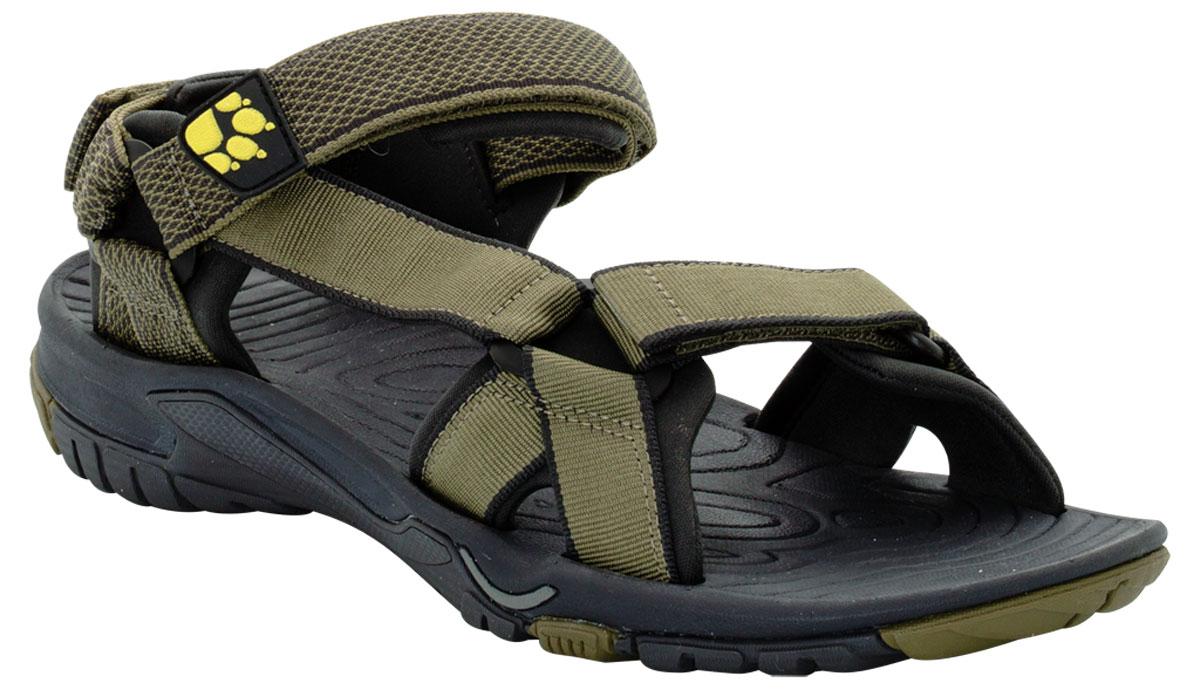 Сандалии мужские Jack Wolfskin Lakewood Ride Sandal, цвет: оливковый. 4019021-4088. Размер 9 (41,5)4019021-4088Очень легкие сандалии для занятий спортом и повседневной жизни. Простые, легкие и воздушные сандалии LAKEWOOD RIDE оснащены мягкими неопреновыми подкладками только в нужных местах. Это способствует снижению веса, как и легкая, шероховатая подошва. Сандалии LAKEWOOD RIDE подойдут для занятий спортом на суше и в воде. С помощью трех застежек-липучек сандалии быстро подгоняются под форму ноги.