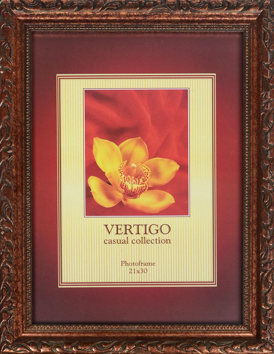 Фоторамка Vertigo Romera, 21 х 30 см14447 PS3104Настольная фоторамка Vertigo Romera выполнена из качественного пластика. Рамка декорирована оригинальным резным рисунком. Фоторамка оборудована специальной ножкой-подставкой и двумя петлями для подвешивания. Рамка может использоваться для фотографий, дипломов, сертификатов, грамот, лицензий и других документов формата А4. Фоторамка Vertigo Romera поможет вам оригинально и стильно дополнить интерьер помещения, а также позволит сохранить память о дорогих вам людях и интересных событиях вашей жизни.