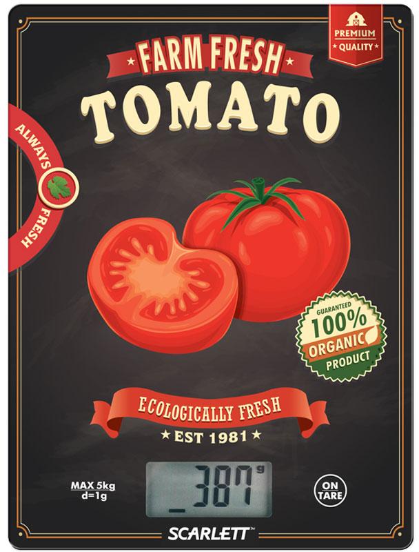 Scarlett SC-KS57P15 Tomato весы кухонныеSC-KS57P15Электронные кухонные весы Scarlett SC-KS57P15 станут незаменимым помощником на вашей кухне и позволят достаточно точно взвесить необходимое количество ингредиентов для любого блюда. За счет своих компактных размеров им найдется применение на любой, даже самой маленькой кухне, а яркий цветовой дизайн привлечет внимание.Платформа выполнена из закаленного стекла, а на цифровом табло отображаются все характеристики присущие электронным весам: тарокомпенсация, индикация перегрузки или заряда батареек. Несомненным плюсом данной модели является измерение объема жидкости.