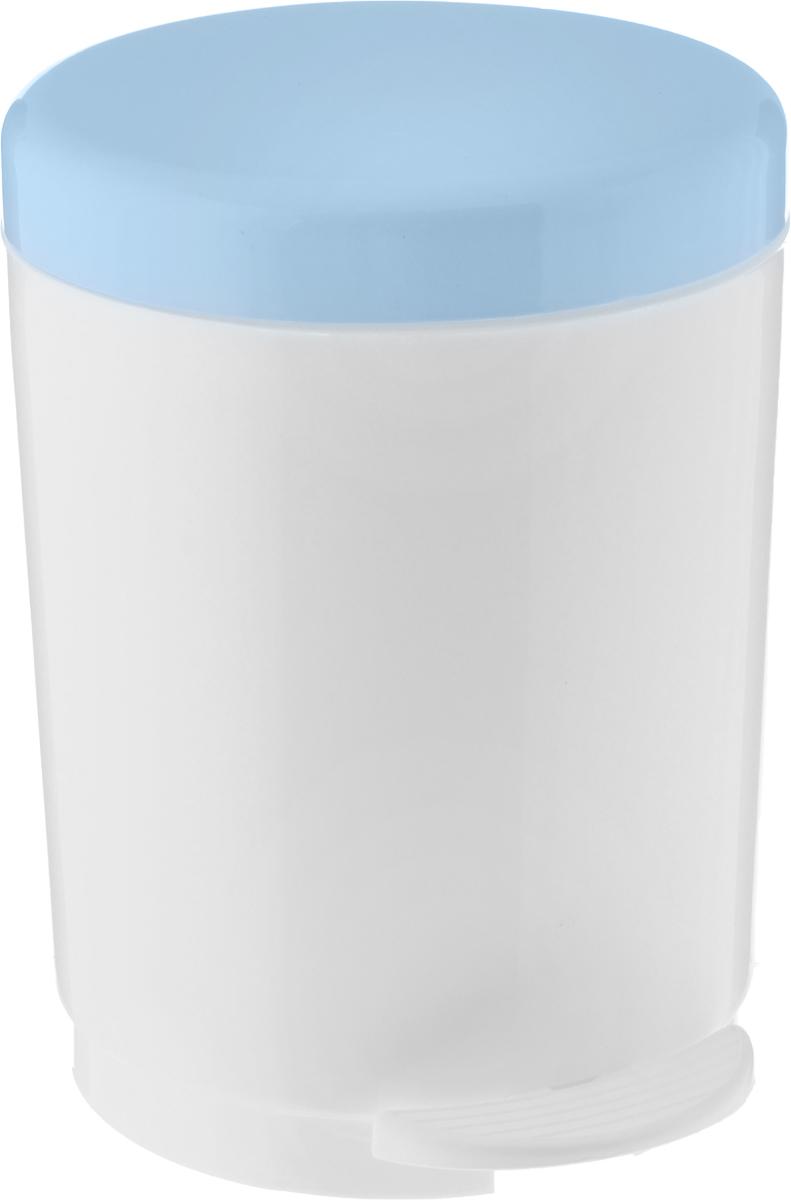 Ведро для мусора Plastic Centre, с педалью, цвет: серо-голубой, белый, 6 л
