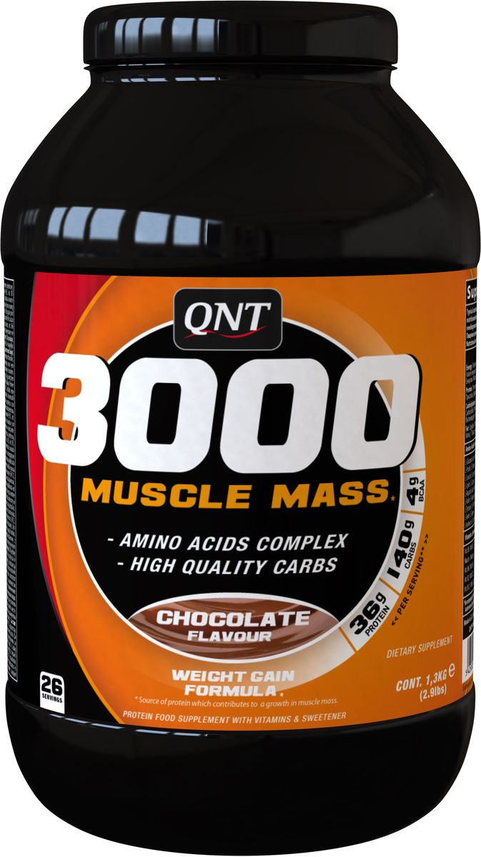 Белково-углеводная смесь QNT 3000 Muscle Mass, шоколад, 1,3 кгQNT09533000 Muscle Mass - лучший выбор, если в процессе активных тренировок у вас не получается набрать желаемую мышечную массу и обеспечить себе красивый мощный мышечный корсет.Преимущества Muscle Mass 3000: Содержит 27 грамм высококачественного протеина в каждой порцииСпособствует эффективному набору мышечной массыЯвляется высококалорийным продуктом при низком содержании жировОбеспечивает организм необходимой энергиейУвеличивает объем мышц и физическую силуВключает комплекс витаминов группы В