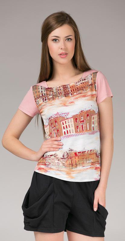 Комплект одежды женский Tesoro, цвет: розовый лепесток. 391К1. Размер 48391К1Домашний комплект, состоящий из футболки и шорт из нежной вискозы. Короткие шортики с карманами на резинке, топ с принтом.