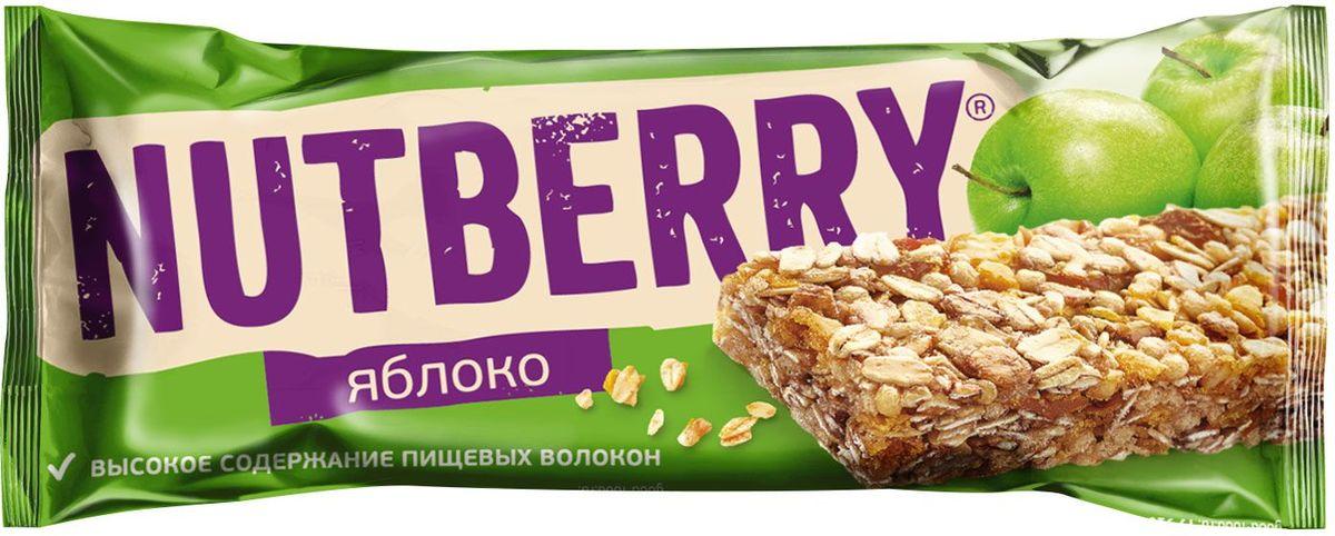 где купить Nutberry неглазированный ба��ончик из сухофруктов мюсли яблочный, 30 шт по 26 г по лучшей цене