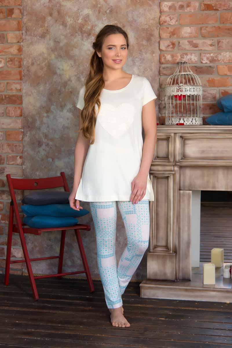 Пижама женская: туника, лосины Mia Cara Portugal, цвет: слоновая кость, голубой. AW16-MC 936. Размер 54/56 пижамы mia cara пижама paisley цвет розовый m l