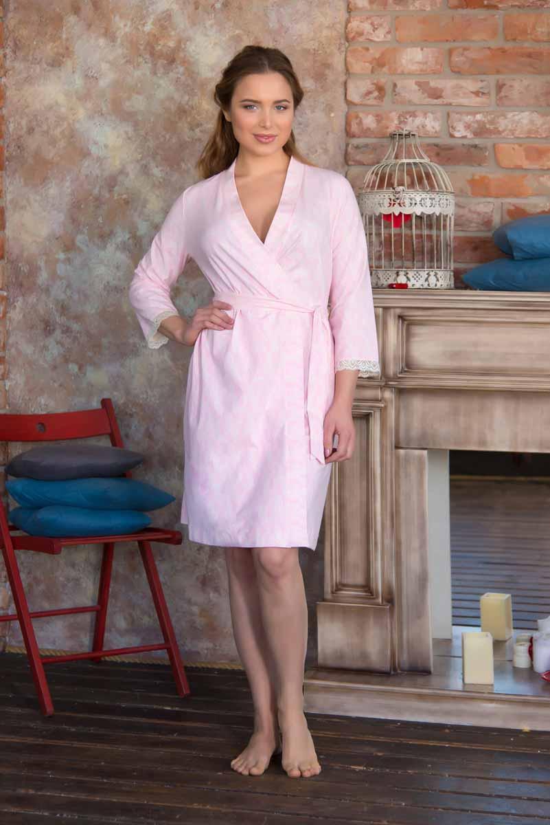 Халат женский Mia Cara Portugal, цвет: светло-розовый. AW16-MC-816. Размер 46/48 пижама женская mia cara футболка бриджи цвет сиреневый aw15 uat lst 656 размер 46 48