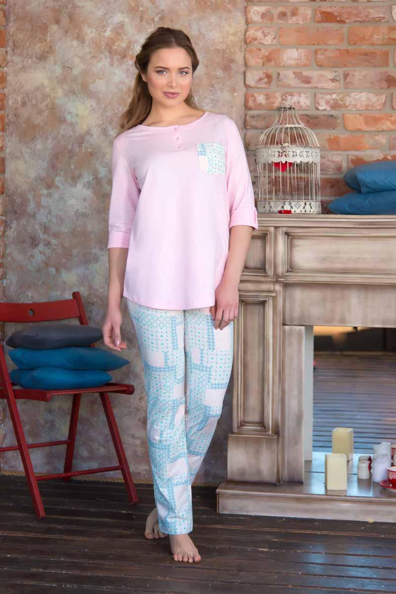 Комплект женский: туника, брюки Mia Cara Portugal, цвет: светло-розовый, бирюзовый. AW16-MC-820. Размер 54/56 пижама женская футболка шорты mia cara portugal цвет розовый голубой aw16 mc 813 размер 50 52