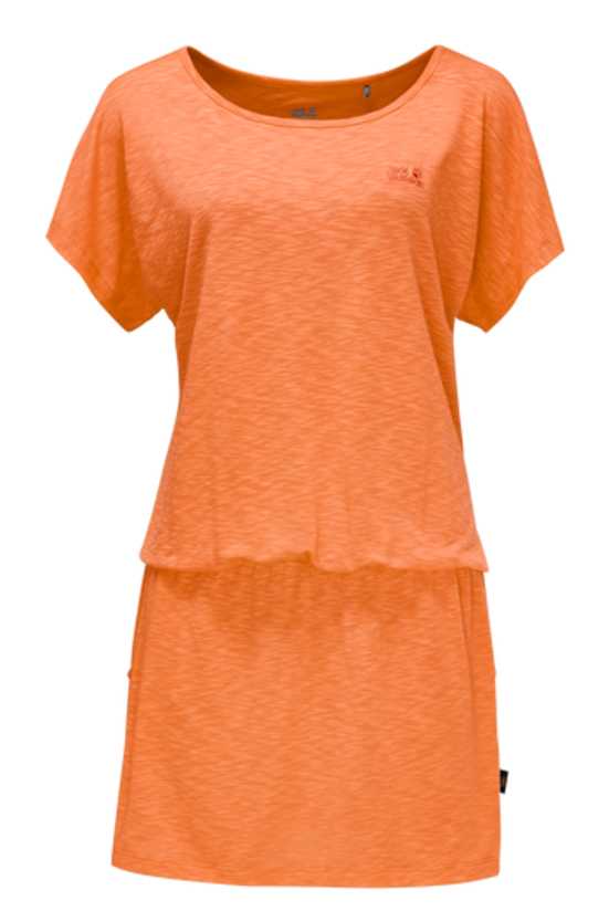 Платье Jack Wolfskin Travel Dress, цвет: оранжевый. 1504051-3441. Размер S (44)1504051-3441Платье Travel Dress изготовлено из полиэстера с добавлением эластана. Ткань мягкая, легкая, приятная на ощупь и дышащая. Если вы вдруг попадете под дождь, ткань высохнет практически мгновенно, кроме того, специальная обработка позволяет уменьшить образование неприятных запахов. Модель имеет свободный крой, круглый вырез горловины и цельнокроеный рукав. На талии предусмотрена резинка, а сбоку расположены вшитые карманы. Модель выполнена в однотонном дизайне.