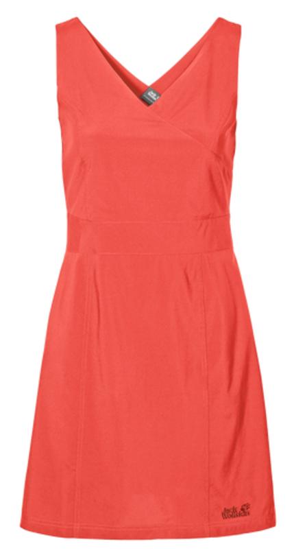 Платье Jack Wolfskin Wahia Dress, цвет: коралловый. 1502892-2043. Размер XL (50/52)1502892-2043Платье Wahia Dress выполнено из 100% полиэстера. Ткань легкая, дышащая, мягкая на ощупь и слегка эластичная, а также обладает защитой от ультрафиолета (UPF 30+). Модель без рукавов длины миди, имеет V-образный вырез и застегивается на молнию сбоку. Такое платье идеально подходит для путешествий в жаркие страны и повседневной носки в летний сезон.