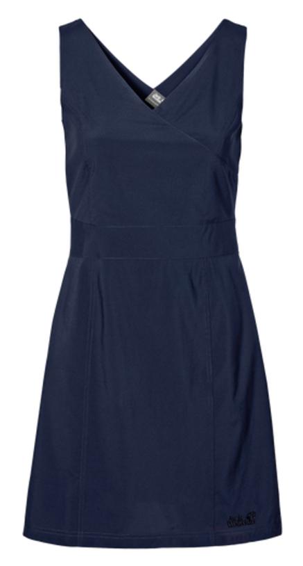 Платье Jack Wolfskin Wahia Dress, цвет: темно-синий. 1502892-1910. Размер L (48)1502892-1910Платье Wahia Dress выполнено из 100% полиэстера. Ткань легкая, дышащая, мягкая на ощупь и слегка эластичная, а также обладает защитой от ультрафиолета (UPF 30+). Модель без рукавов длины миди, имеет V-образный вырез и застегивается на молнию сбоку. Такое платье идеально подходит для путешествий в жаркие страны и повседневной носки в летний сезон.