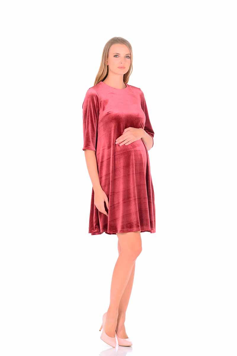 Платье для беременных и кормящих Nuova Vita, цвет: бордовый. 2160.02. Размер 482160.02Удобное бархатное платье с укороченным рукавом для беременных будет прекрасным вариантом для вашей коллекции. Этот товар станет приятной покупкой или презентом родным. Платье великолепно подойдет под любой стиль одежды. Продукт сделан из качественных материалов приятного окраса. Дизайн тщательно проработан. Все части аккуратно выбраны и хорошо смотрятся друг с другом.
