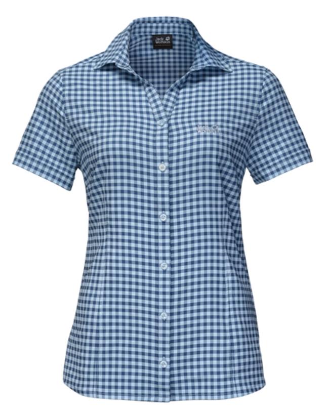 Рубашка женская Jack Wolfskin Kepler Shirt W, цвет: синий. 1401723-7919. Размер M (46)1401723-7919Рубашка женская Kepler Shirt выполнена из 100% полиэстера. Ткань дышащая, легкая, приятная на ощупь и эластичная, она обладает высокой защитой от ультрафиолета (UPF 50+) и быстро сохнет. Рубашка застегивается на пуговицы, имеет отложной воротник и короткие стандартные рукава, а также секретный карман. Модель дополнена принтом в клетку и логотипом бренда. Такая рубашка идеально подходит для путешествий в жаркие страны и повседневной носки в летний сезон.