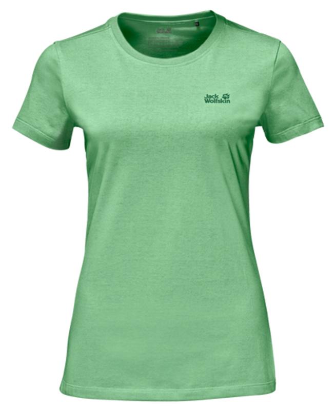 Футболка женская Jack Wolfskin Essential T W, цвет: зеленый. 1805791-4154. Размер XL (50/52)1805791-4154Футболка женская Essential T W изготовлена из полиэстера и органического хлопка. Ткань легкая и мягкая, быстро сохнет, приятная на ощупь и очень прочная. Модель имеет круглый вырез горловины и короткие стандартные рукава. Футболка дополнена логотипом бренда. В такой футболке вам будет комфортно весь день, она универсальна и подходит для повседневной жизни так же хорошо, как и для активного отдыха на природе.