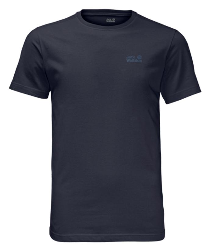 цена Футболка мужская Jack Wolfskin Essential T M, цвет: темно-синий. 1805781-1010. Размер XXL (54) онлайн в 2017 году
