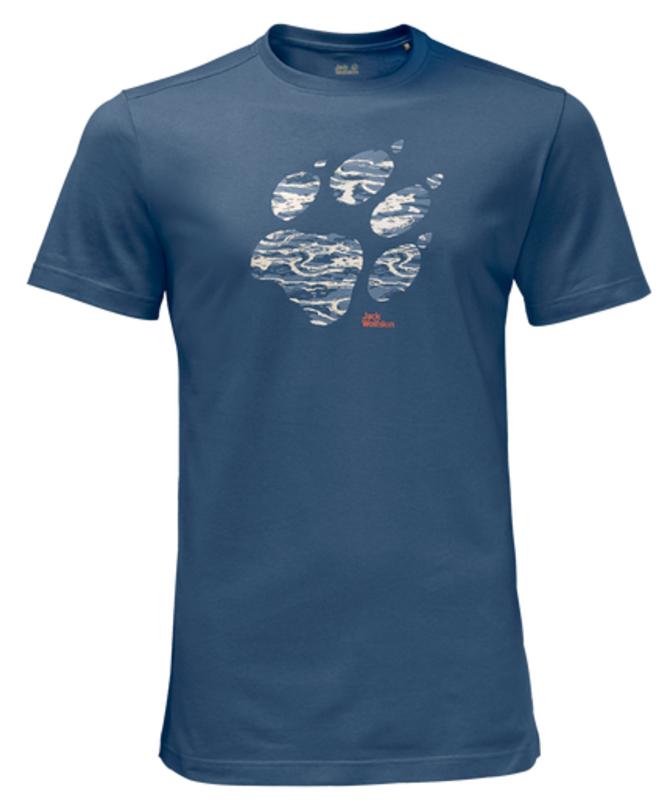 Футболка мужская Jack Wolfskin Laguna Paw T M, цвет: синий. 1805771-1588. Размер XL (52)1805771-1588Футболка мужская Laguna Paw T M изготовлена из полиэстера и органического хлопка. Ткань легкая и мягкая, быстро сохнет, приятная на ощупь и очень прочная. Модель имеет круглый вырез горловины и короткие стандартные рукава. Футболка дополнена логотипом бренда. В такой футболке вам будет комфортно весь день, она универсальна и подходит для повседневной жизни так же хорошо, как и для активного отдыха на природе.