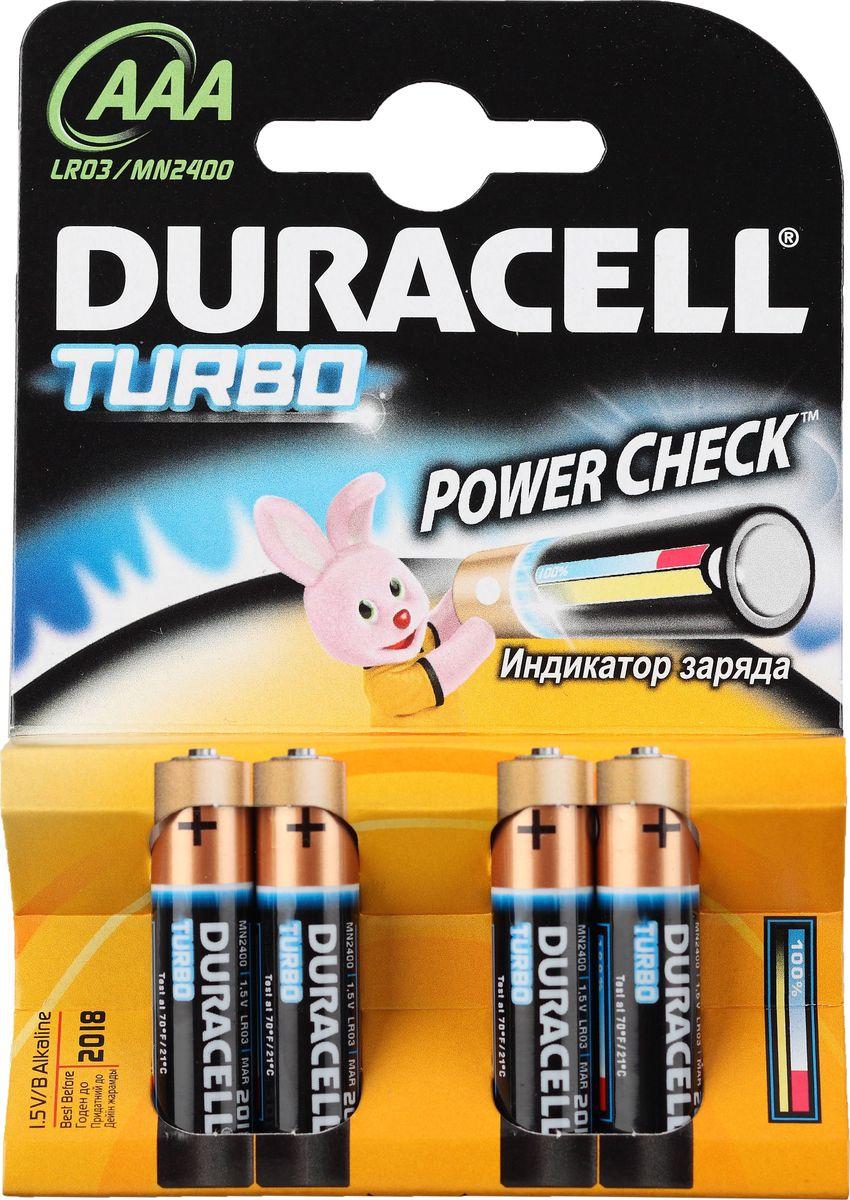 Батарейка щелочная Duracell LR03-4BL Turbo, тип ААА, 4 шт81549875Батарейка Duracell LR03-4BL Turbo размера AAA - подходит для использования в различных бытовых устройствах. Технология Powercheck™ позволяет легко определить уровень заряда каждой батарейки, чтобы избежать нежелательных перебоев в работе устройств, и повторно использовать батарейки в менее энергоемких устройствах даже тогда, когда они перестают работать в более энергоемких (храните батарейки вместе и не смешивайте их с неиспользованными во втором устройстве). Достаточно всего лишь нажать на белые точки, расположенные на обоих концах батарейки, и индикатор покажет оставшийся уровень заряда. Это отличные батарейки Duracell для таких энергоемких устройств, как цифровые камеры, фотовспышки, электронные игрушки и аудиосистемы высокой мощности. И, конечно же, они прекрасно подойдут для часто используемых устройств: механизированных игрушек, фонариков, портативных игровых устройств, электробритв, CD-плееров, электрических зубных щеток.