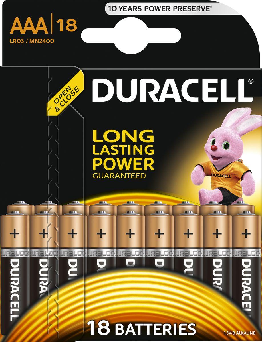Батарейка щелочная Duracell LR03-18BL Basic, тип ААА, 18 шт81546741Батарейка Duracell LR03-18BL Basic размера AAA - подходит для использования в различных бытовых устройствах. Это отличные батарейки Duracell для таких энергоемких устройств, как цифровые камеры, фотовспышки, электронные игрушки и аудиосистемы высокой мощности. И, конечно же, они прекрасно подойдут для часто используемых устройств: механизированных игрушек, фонариков, портативных игровых устройств, электробритв, CD-плееров, электрических зубных щеток.