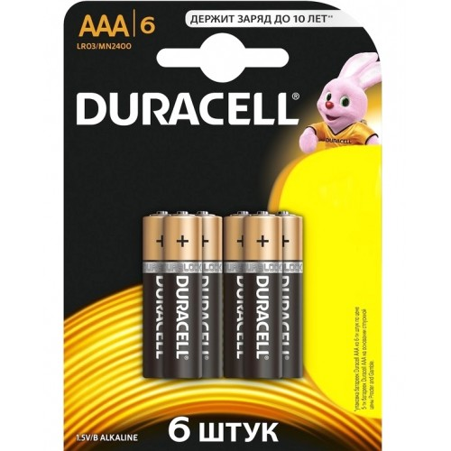 """Батарейка Duracell """"LR03-6BL Basic"""", 6 шт"""
