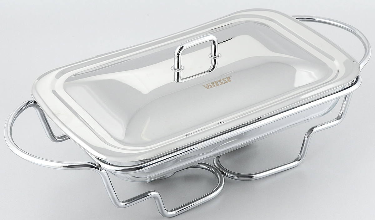 Мармит Vitesse Annabel с крышкой, с подогревом, 2,4 лVS-1533Мармит Vitesse Annabel прямоугольной формы изготовлен из термостойкого прозрачного стекла. Мармит предназначен для приготовления блюд в духовке и микроволновой печи. Мармит с приготовленным блюдом можно сразу подавать на стол, не перекладывая на сервировочные тарелки.Мармит помещается на металлическую подставку с двумя подсвечниками для чайных свечей (входят в комплект). Свечи обеспечивают легкий подогрев блюд и не дают им остыть. Изделие также оснащено крышкой из нержавеющей стали. Элегантный дизайн изящно украсит стол.Можно использовать в духовом шкафу, микроволновой печи (без подставки) и мыть в посудомоечноймашине.Размер мармита: 34 х 20,5 см.Высота стенки: 5 см. Размер подставки: 46,5 х 22 х 11 см. Диаметр подсвечника: 4 см.